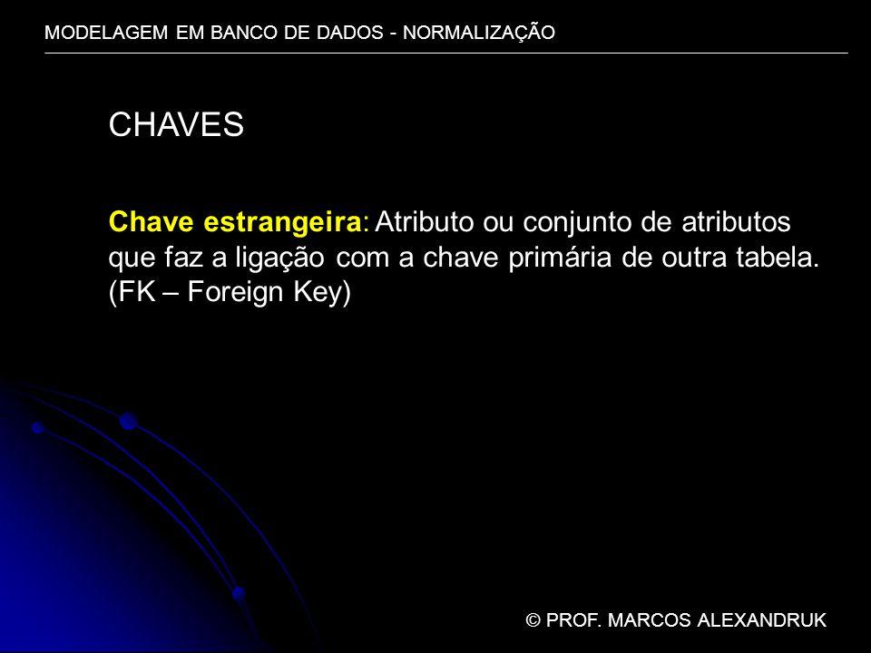 MODELAGEM EM BANCO DE DADOS - NORMALIZAÇÃO © PROF. MARCOS ALEXANDRUK CHAVES Chave estrangeira: Atributo ou conjunto de atributos que faz a ligação com