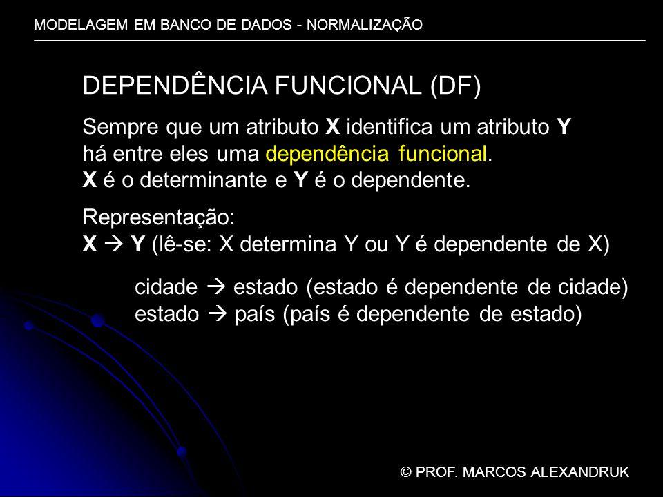 MODELAGEM EM BANCO DE DADOS - NORMALIZAÇÃO © PROF. MARCOS ALEXANDRUK DEPENDÊNCIA FUNCIONAL (DF) Sempre que um atributo X identifica um atributo Y há e