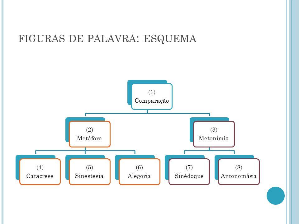 FIGURAS DE PALAVRA : ESQUEMA (1) Comparação (2) Metáfora (4) Catacrese (5) Sinestesia (6) Alegoria (3) Metonímia (7) Sinédoque (8) Antonomásia
