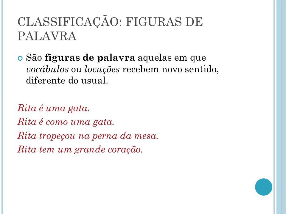 CLASSIFICAÇÃO: FIGURAS DE PALAVRA São figuras de palavra aquelas em que vocábulos ou locuções recebem novo sentido, diferente do usual. Rita é uma gat
