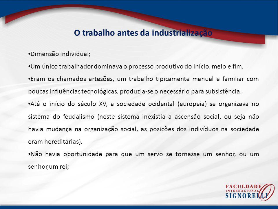 O trabalho antes da industrialização Dimensão individual; Um único trabalhador dominava o processo produtivo do início, meio e fim.