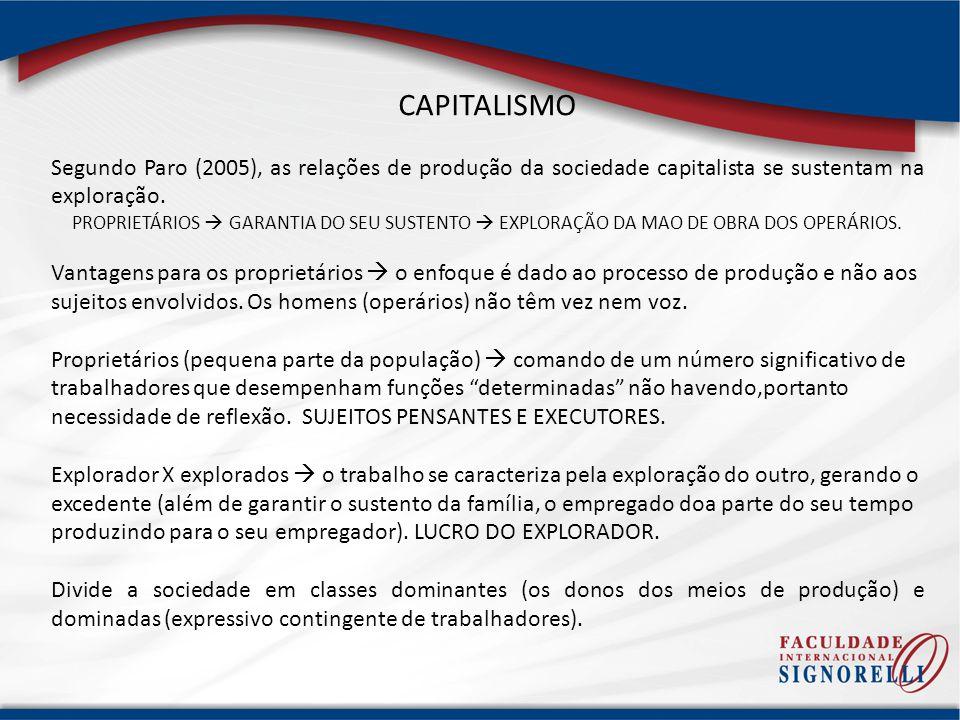 CAPITALISMO Segundo Paro (2005), as relações de produção da sociedade capitalista se sustentam na exploração.