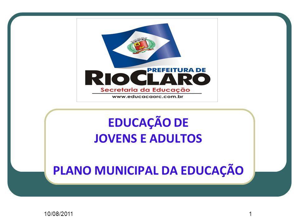 10/08/20111 EDUCAÇÃO DE JOVENS E ADULTOS PLANO MUNICIPAL DA EDUCAÇÃO