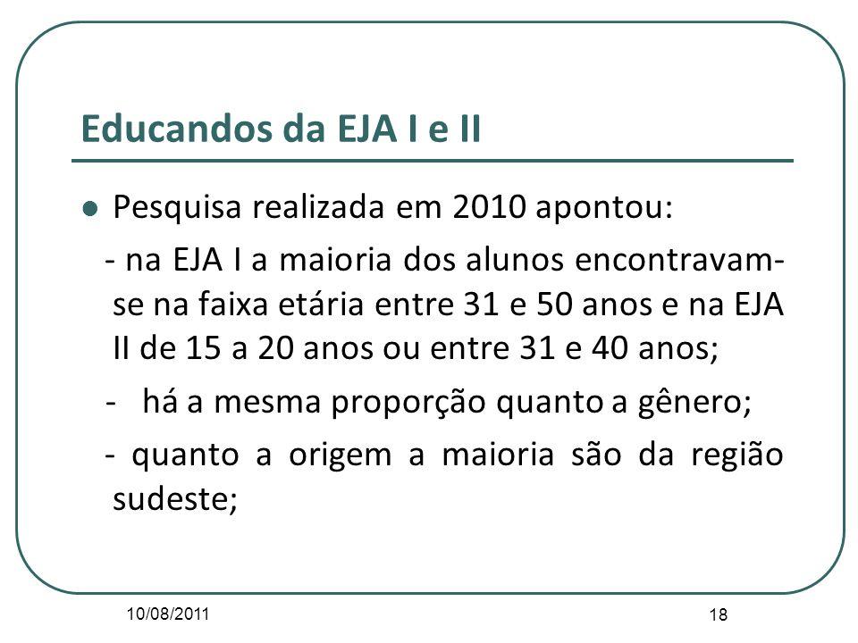 10/08/2011 18 Educandos da EJA I e II Pesquisa realizada em 2010 apontou: - na EJA I a maioria dos alunos encontravam- se na faixa etária entre 31 e 5