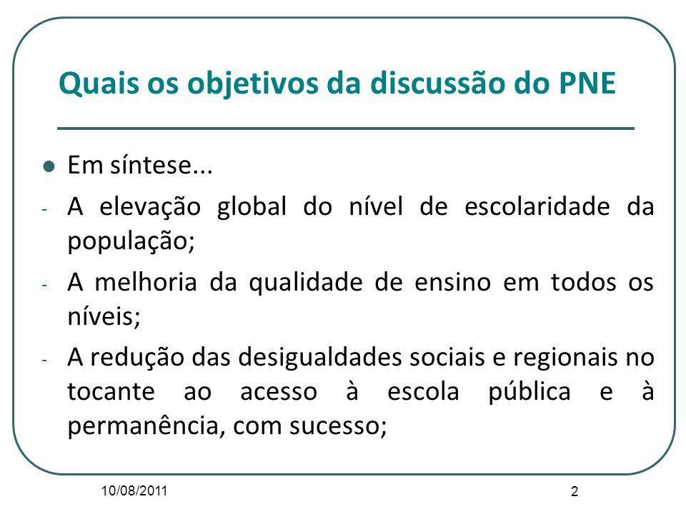 10/08/2011 2 Quais os objetivos da discussão do PNE Em síntese... - A elevação global do nível de escolaridade da população; - A melhoria da qualidade
