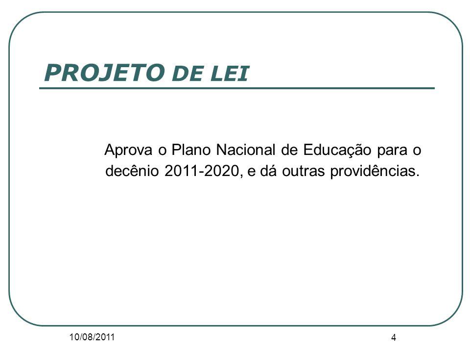 10/08/2011 4 PROJETO DE LEI Aprova o Plano Nacional de Educação para o decênio 2011-2020, e dá outras providências.