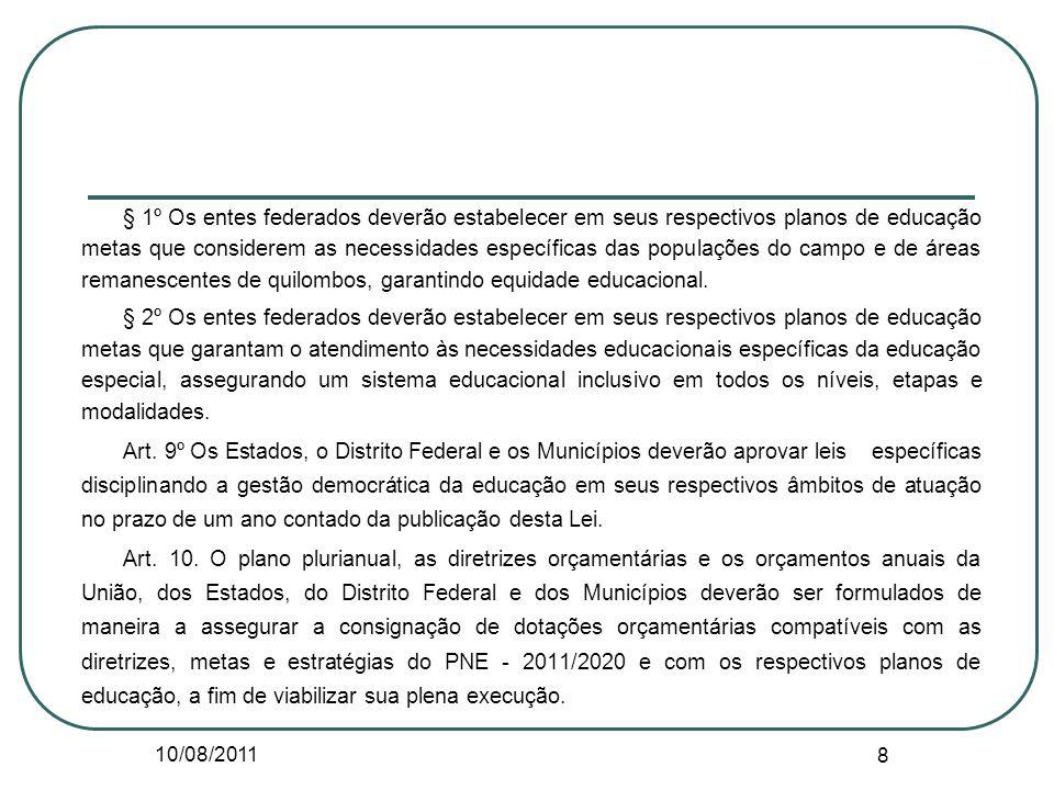10/08/2011 8 § 1º Os entes federados deverão estabelecer em seus respectivos planos de educação metas que considerem as necessidades específicas das p