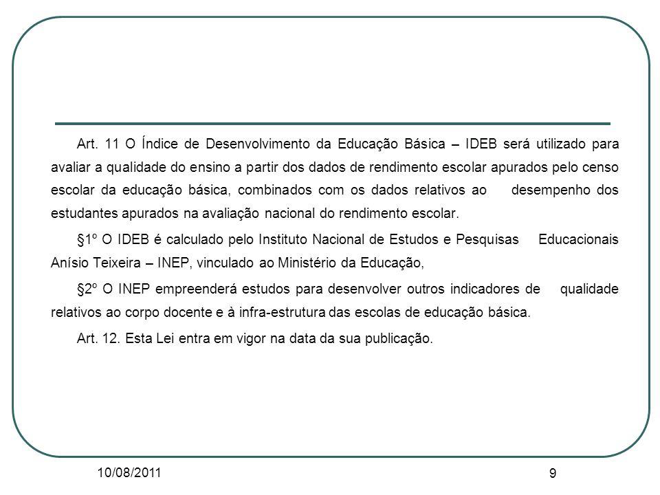 10/08/2011 9 Art. 11 O Índice de Desenvolvimento da Educação Básica – IDEB será utilizado para avaliar a qualidade do ensino a partir dos dados de ren