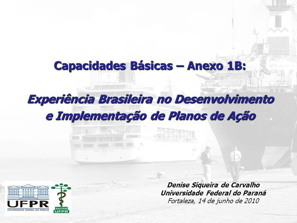 Capacidades Básicas – Anexo 1B: Experiência Brasileira no Desenvolvimento e Implementação de Planos de Ação Denise Siqueira de Carvalho Universidade F