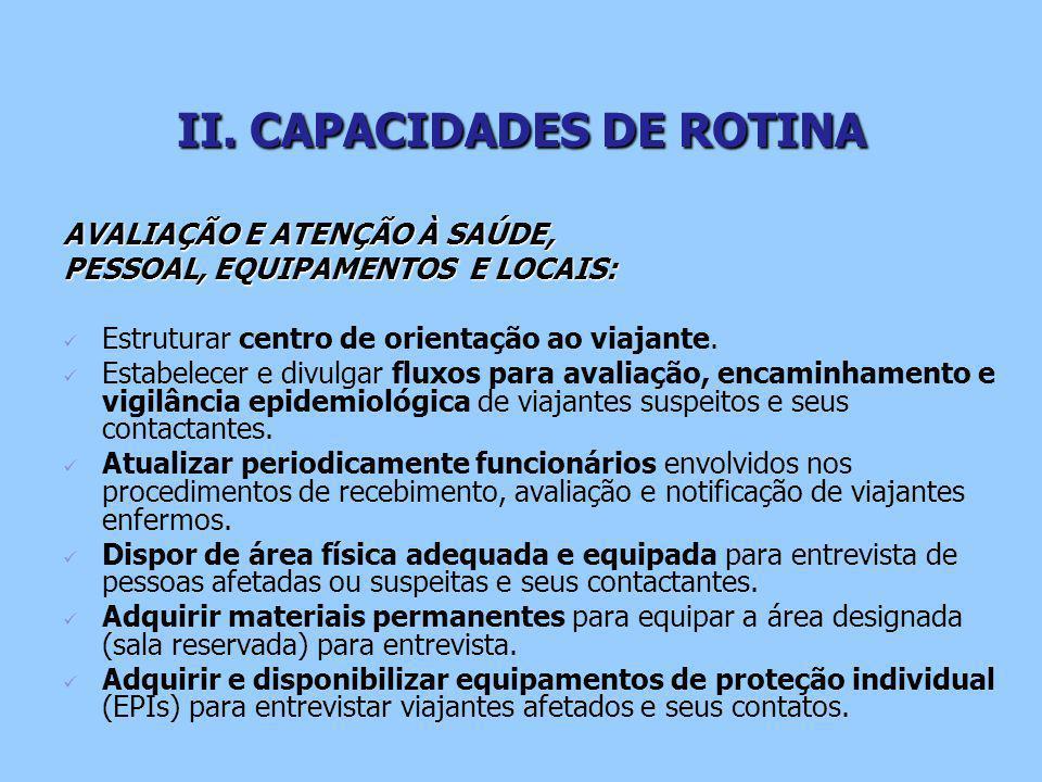II. CAPACIDADES DE ROTINA AVALIAÇÃO E ATENÇÃO À SAÚDE, PESSOAL, EQUIPAMENTOS E LOCAIS: Estruturar centro de orientação ao viajante. Estabelecer e divu