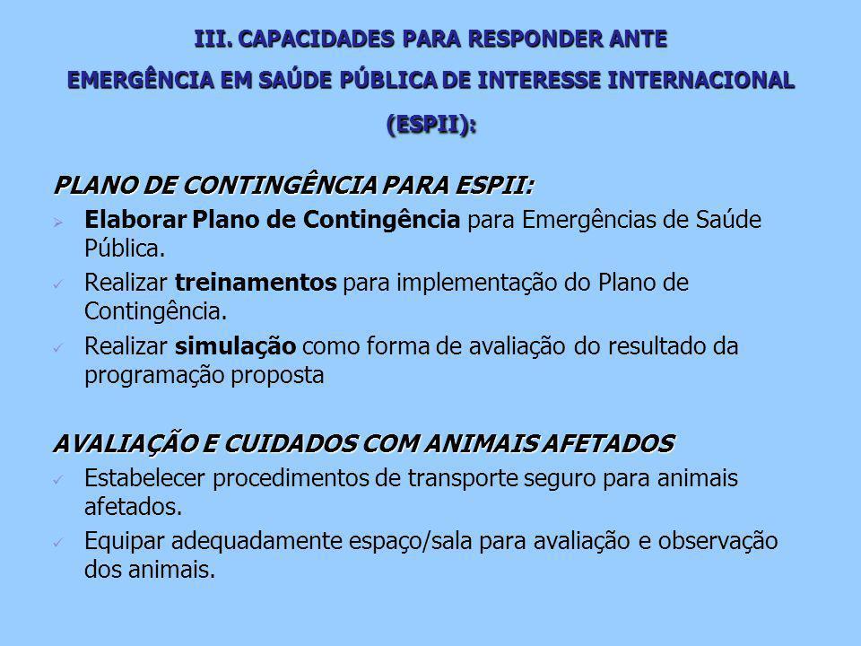 III. CAPACIDADES PARA RESPONDER ANTE EMERGÊNCIA EM SAÚDE PÚBLICA DE INTERESSE INTERNACIONAL (ESPII): PLANO DE CONTINGÊNCIA PARA ESPII:   Elaborar Pl