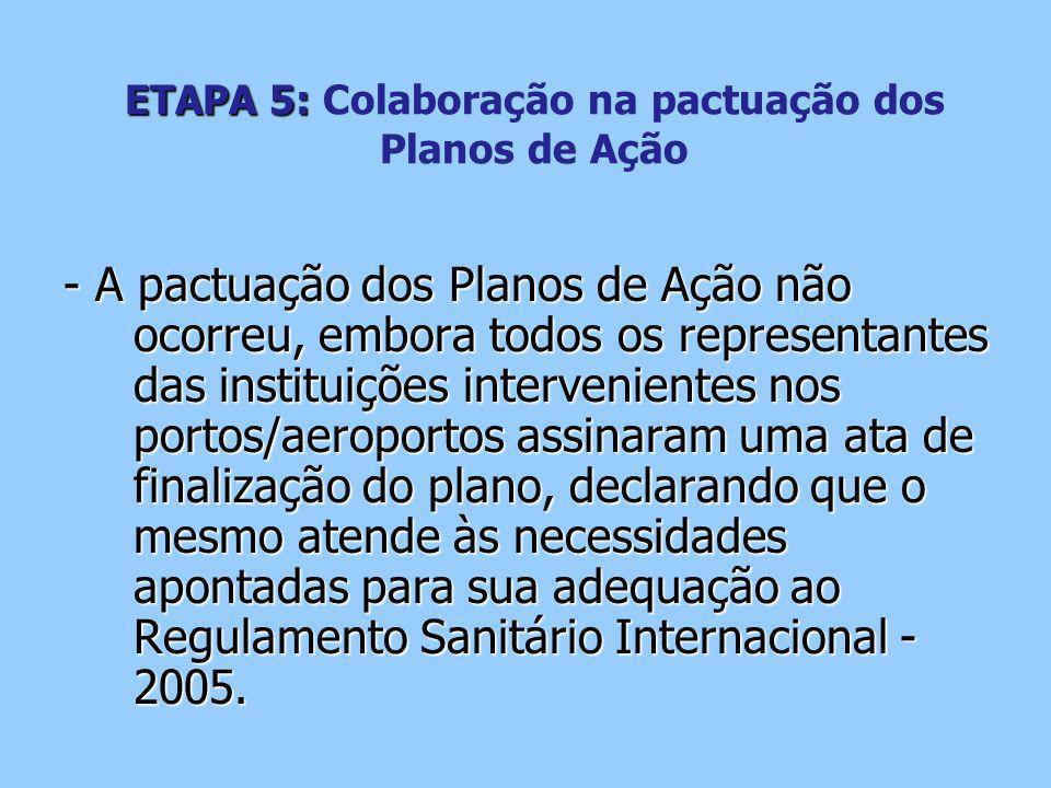 ETAPA 5: ETAPA 5: Colaboração na pactuação dos Planos de Ação - A pactuação dos Planos de Ação não ocorreu, embora todos os representantes das instituições intervenientes nos portos/aeroportos assinaram uma ata de finalização do plano, declarando que o mesmo atende às necessidades apontadas para sua adequação ao Regulamento Sanitário Internacional - 2005.