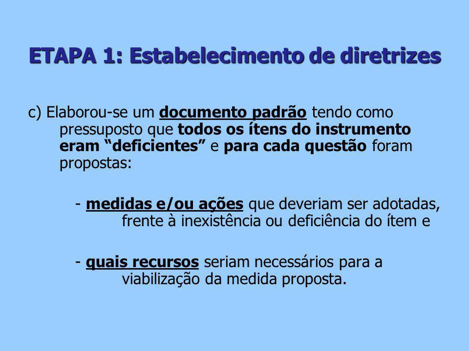ETAPA 1: Estabelecimento de diretrizes c) Elaborou-se um documento padrão tendo como pressuposto que todos os ítens do instrumento eram deficientes e para cada questão foram propostas: - medidas e/ou ações que deveriam ser adotadas, frente à inexistência ou deficiência do ítem e - quais recursos seriam necessários para a viabilização da medida proposta.