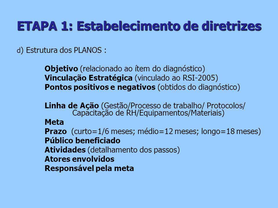 ETAPA 1: Estabelecimento de diretrizes d ) Estrutura dos PLANOS : Objetivo (relacionado ao ítem do diagnóstico) Vinculação Estratégica (vinculado ao RSI-2005) Pontos positivos e negativos (obtidos do diagnóstico) Linha de Ação (Gestão/Processo de trabalho/ Protocolos/ Capacitação de RH/Equipamentos/Materiais) Meta Prazo (curto=1/6 meses; médio=12 meses; longo=18 meses) Público beneficiado Atividades (detalhamento dos passos) Atores envolvidos Responsável pela meta
