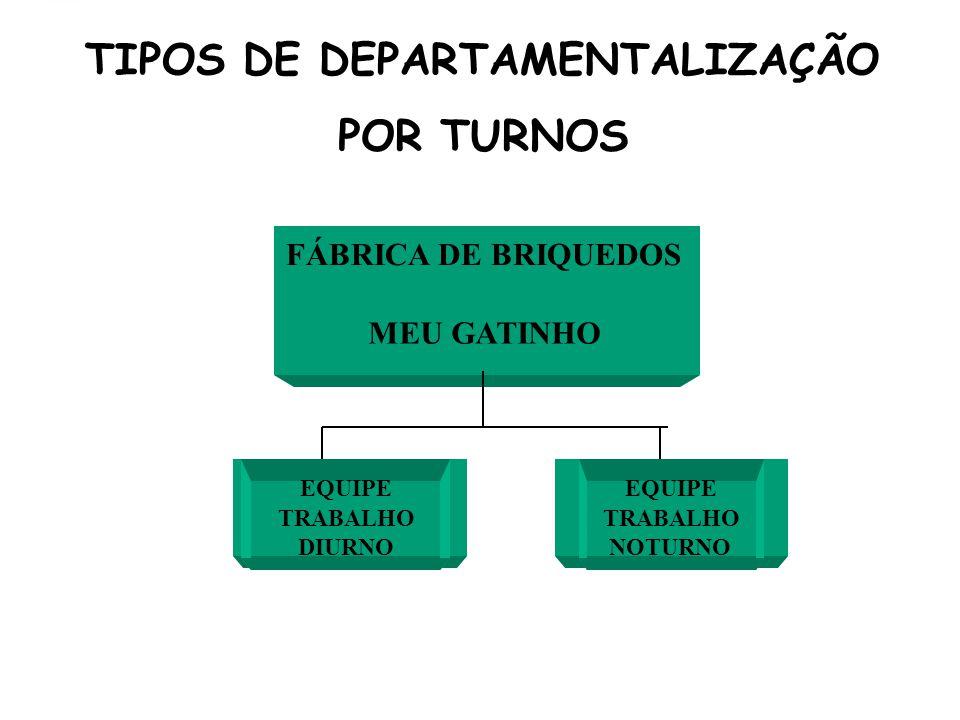 TIPOS DE DEPARTAMENTALIZAÇÃO POR TURNOS FÁBRICA DE BRIQUEDOS MEU GATINHO EQUIPE TRABALHO DIURNO EQUIPE TRABALHO NOTURNO