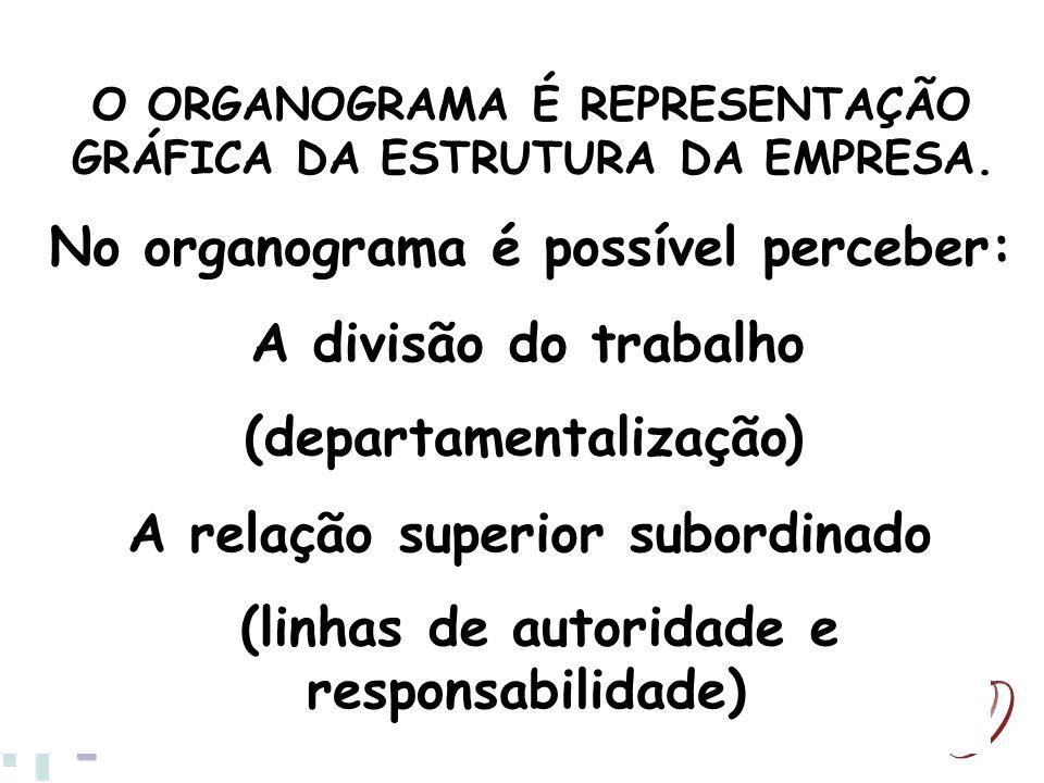 O ORGANOGRAMA É REPRESENTAÇÃO GRÁFICA DA ESTRUTURA DA EMPRESA. No organograma é possível perceber: A divisão do trabalho (departamentalização) A relaç