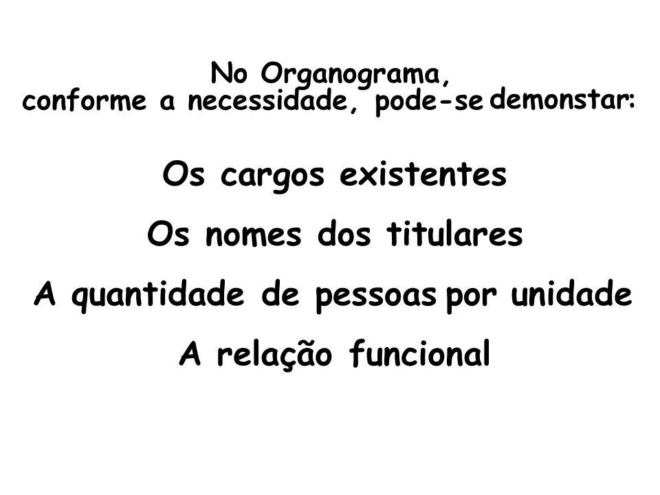 No Organograma, conforme a necessidade, pode-se demonstar : Os cargos existentes Os nomes dos titulares A quantidade de pessoasporunidade A relação funcional