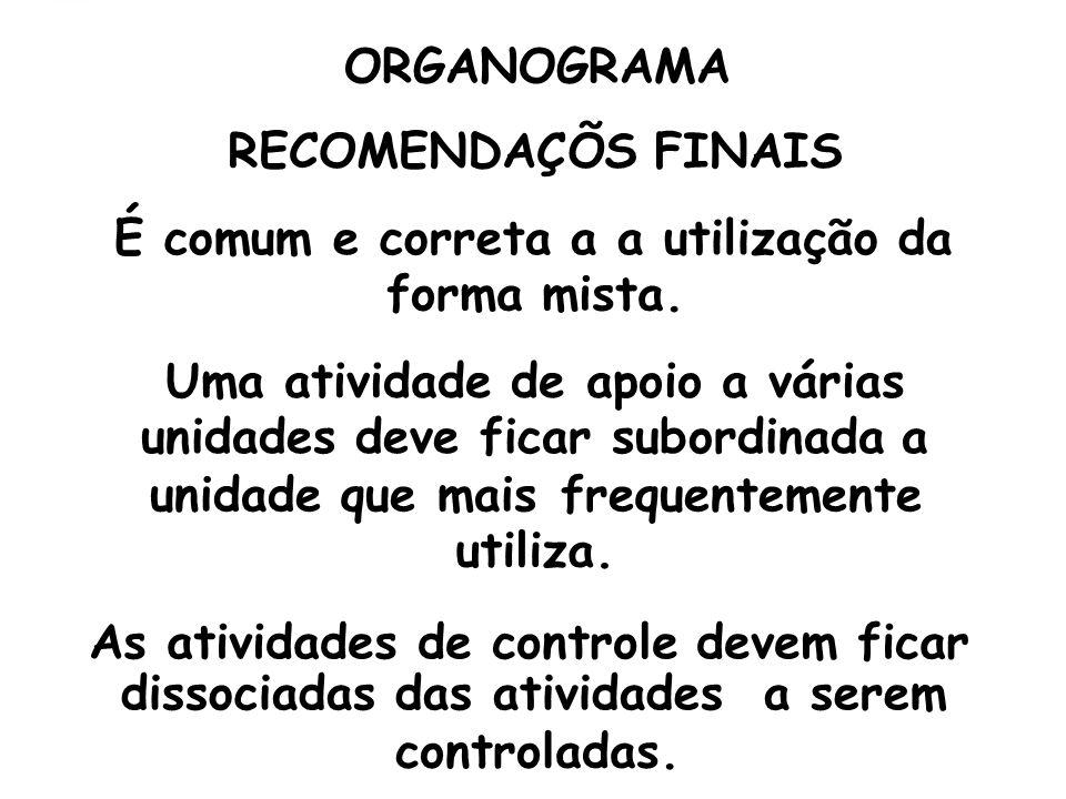 ORGANOGRAMA RECOMENDAÇÕS FINAIS É comum e correta a a utilização da forma mista. Uma atividade de apoio a várias unidades deve ficar subordinada a uni