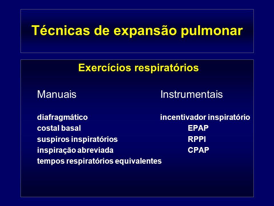 Técnicas de expansão pulmonar Exercícios respiratórios ManuaisInstrumentais diafragmático incentivador inspiratório costal basalEPAP suspiros inspirat