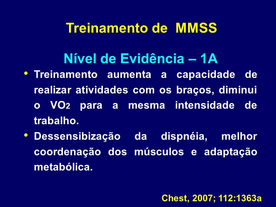 Treinamento de MMSS Nível de Evidência – 1A Treinamento aumenta a capacidade de realizar atividades com os braços, diminui o VO 2 para a mesma intensi