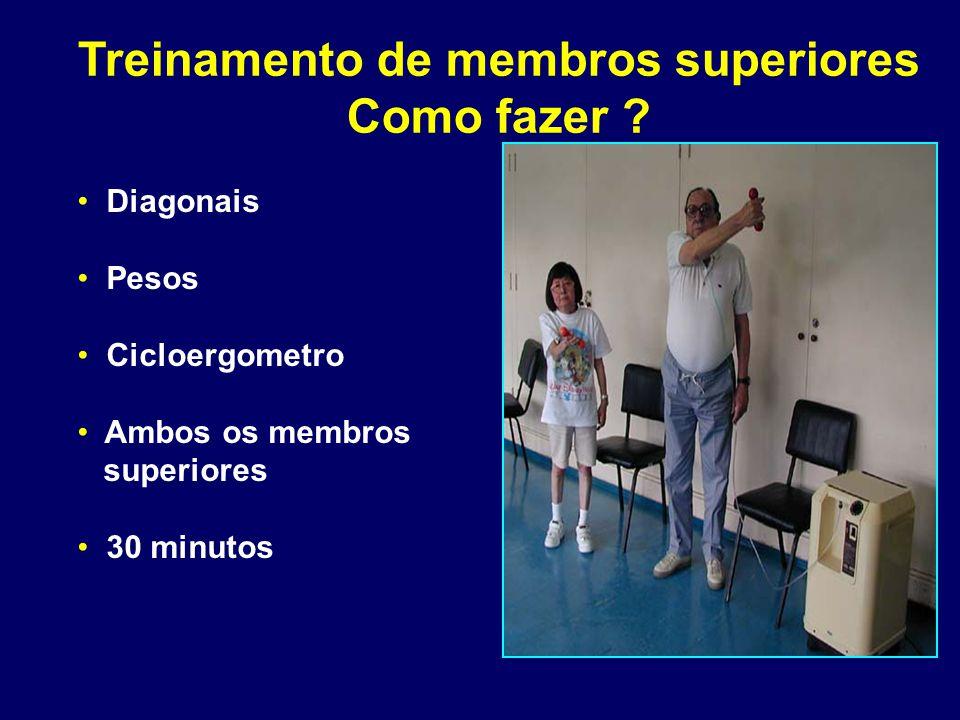 Treinamento de membros superiores Como fazer ? Diagonais Pesos Cicloergometro Ambos os membros superiores 30 minutos