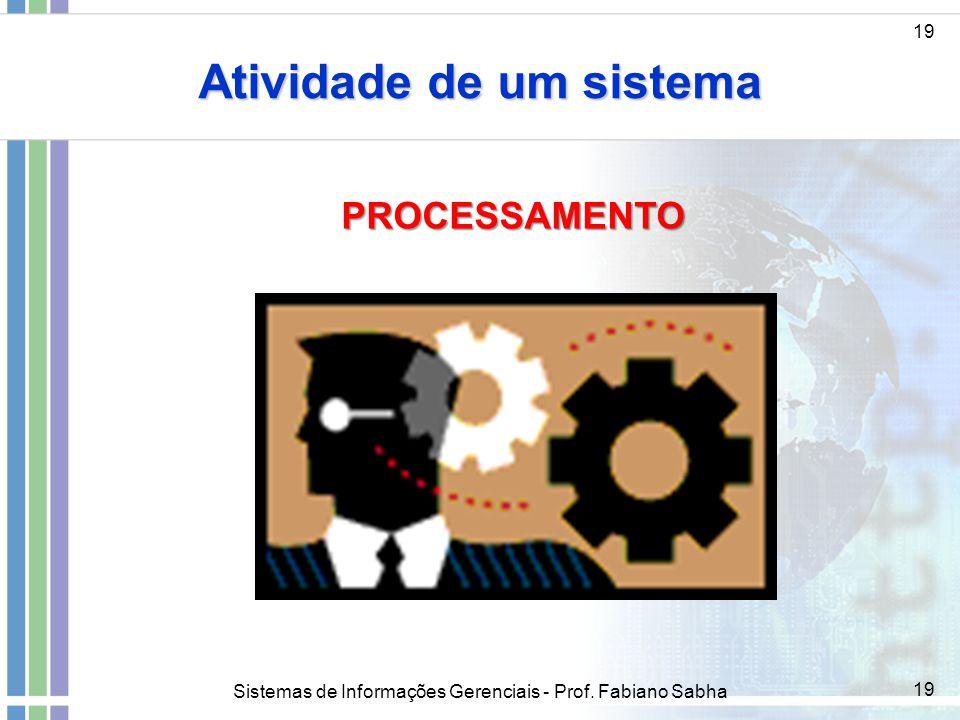 Sistemas de Informações Gerenciais - Prof. Fabiano Sabha 19 Atividade de um sistema 19 PROCESSAMENTO