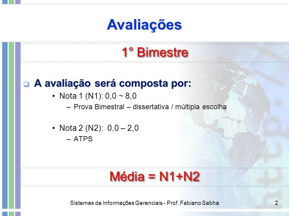 Sistemas de Informações Gerenciais - Prof. Fabiano Sabha2 Avaliações  A avaliação será composta por: Nota 1 (N1): 0,0 ~ 8,0 –Prova Bimestral – disser