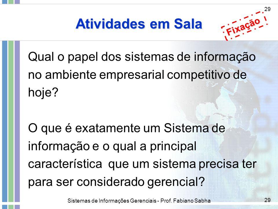 Sistemas de Informações Gerenciais - Prof. Fabiano Sabha 29 Atividades em Sala 29 Qual o papel dos sistemas de informação no ambiente empresarial comp