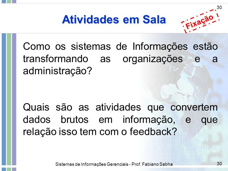 Sistemas de Informações Gerenciais - Prof. Fabiano Sabha 30 Atividades em Sala 30 Como os sistemas de Informações estão transformando as organizações