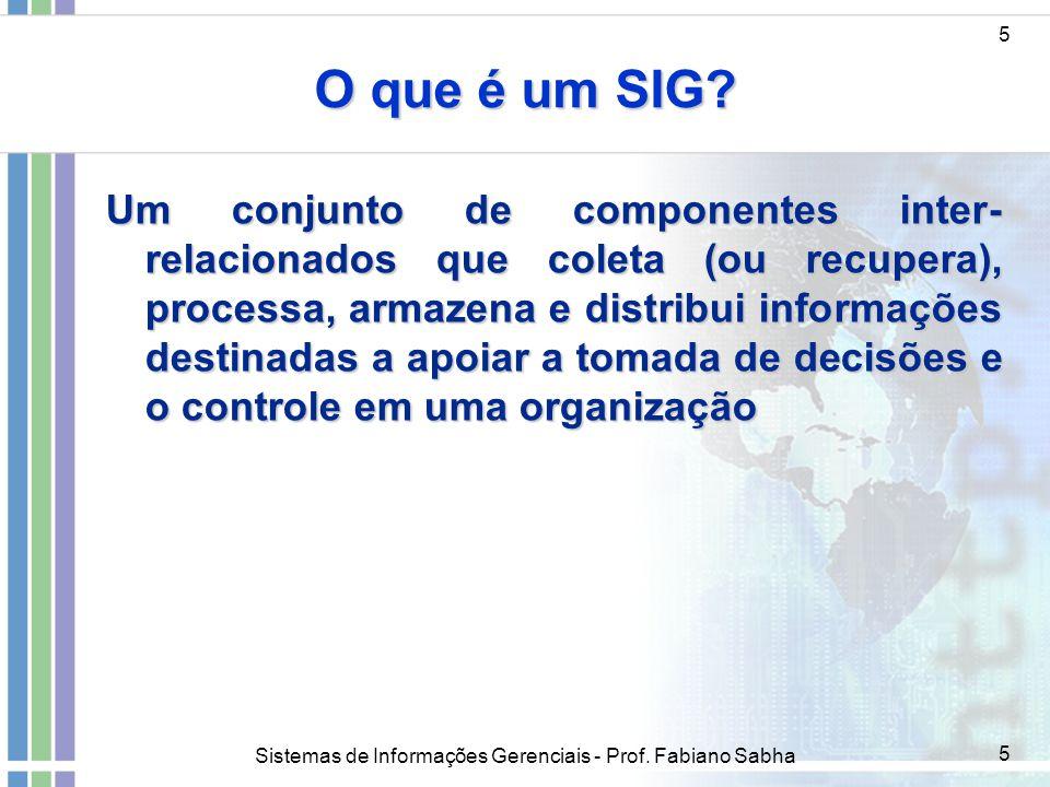Sistemas de Informações Gerenciais - Prof. Fabiano Sabha 5 O que é um SIG? Um conjunto de componentes inter- relacionados que coleta (ou recupera), pr
