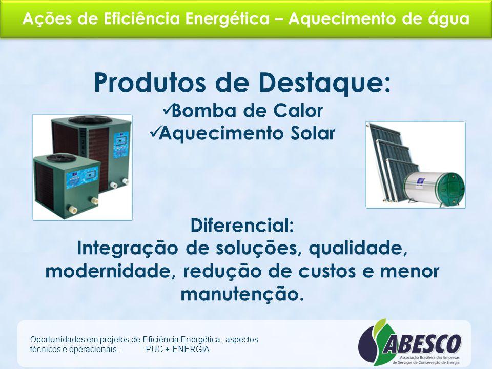 Ações de Eficiência Energética – Sistema Elétrico Oportunidades em projetos de Eficiência Energética ; aspectos técnicos e operacionais. PUC + ENERGIA