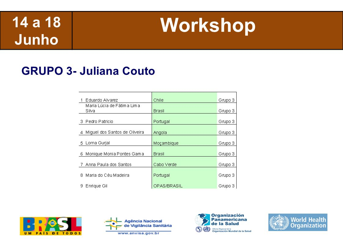 International Health Regulations 14 a 18 Junho Workshop GRUPO 3- Juliana Couto