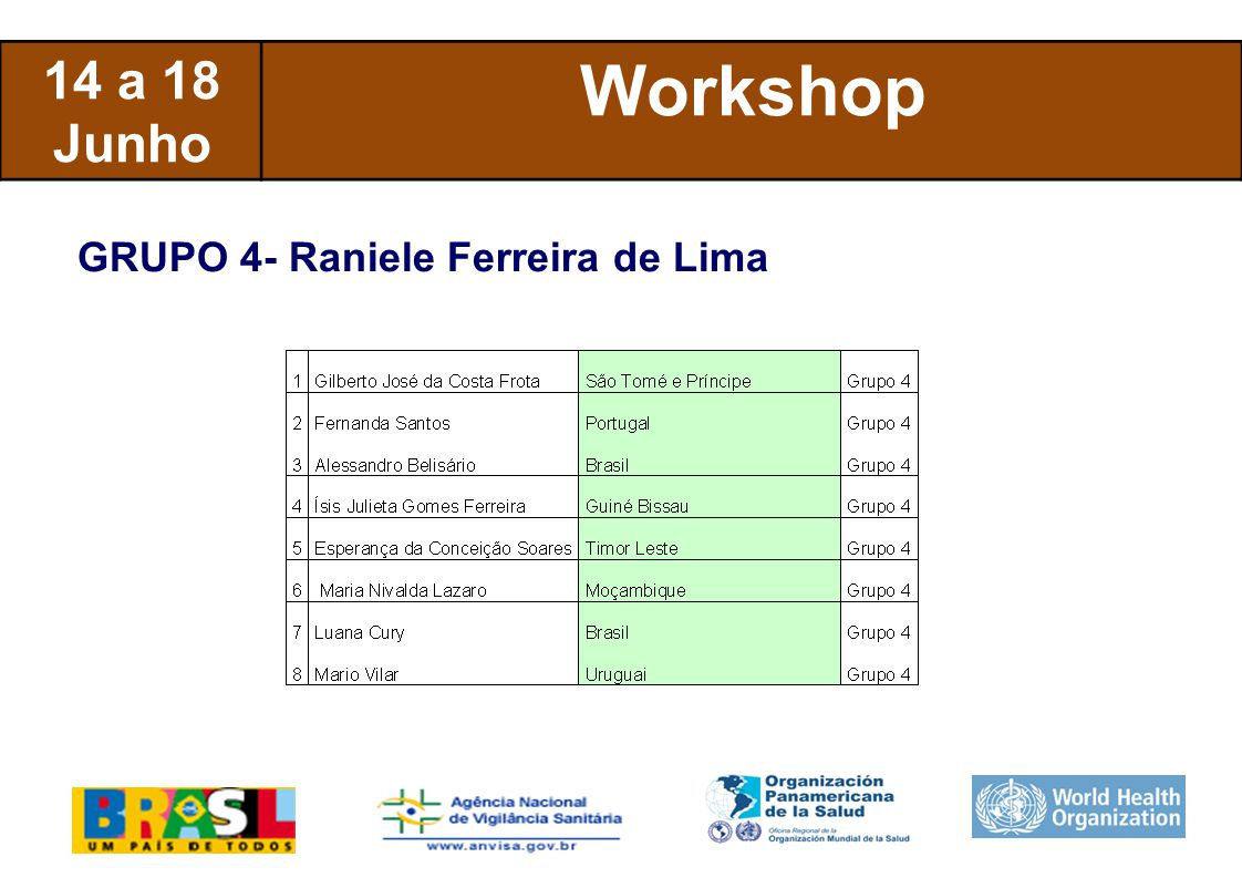 International Health Regulations 14 a 18 Junho Workshop GRUPO 5- Camila Borges Lacerda
