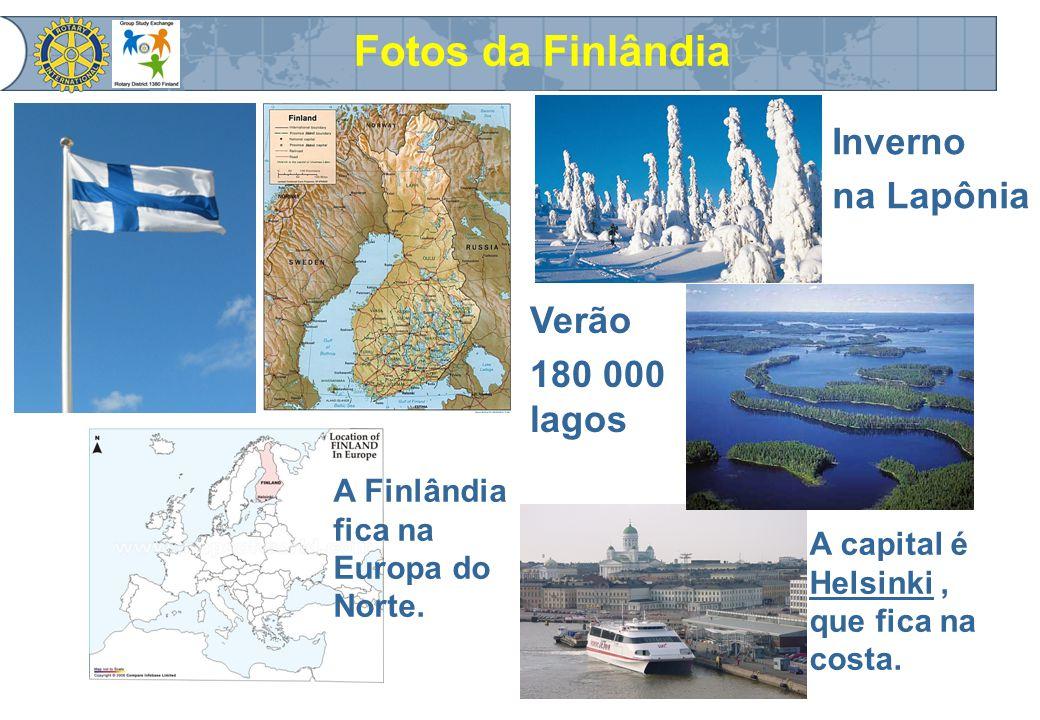 Total area: Finland 338,000 km² ( Brazil 8,514,877 km² ),km²8,514,877 km² dos quais 10% é água e 69% floresta; 187,888 lagos, 5,100 corredeiras e 179,584 ilhas; O maior arquipélago da Europa Clima: invernos frios e verões bem quentes.