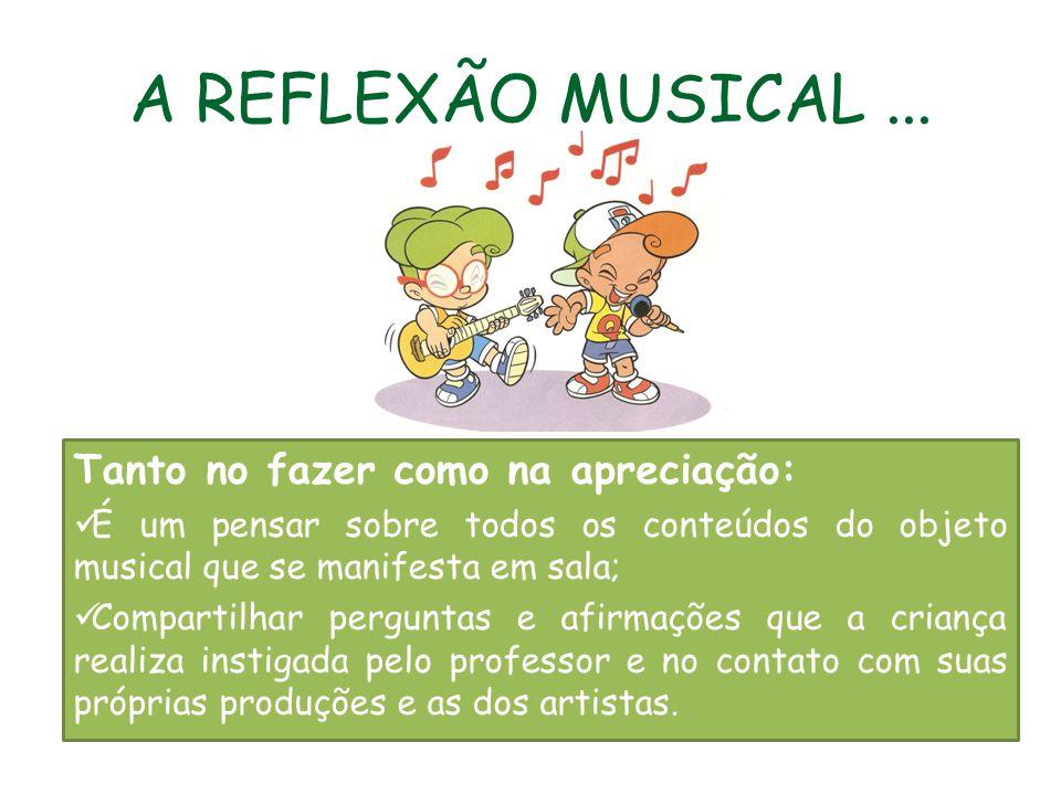 A REFLEXÃO MUSICAL... Tanto no fazer como na apreciação: É um pensar sobre todos os conteúdos do objeto musical que se manifesta em sala; Compartilhar