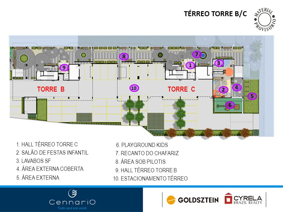 TÉRREO TORRE B/C 1 1. HALL TÉRREO TORRE C 2. SALÃO DE FESTAS INFANTIL 3. LAVABOS SF 4. ÁREA EXTERNA COBERTA 5. ÁREA EXTERNA 6. PLAYGROUND KIDS 7. RECA