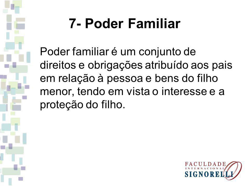 7- Poder Familiar Poder familiar é um conjunto de direitos e obrigações atribuído aos pais em relação à pessoa e bens do filho menor, tendo em vista o interesse e a proteção do filho.