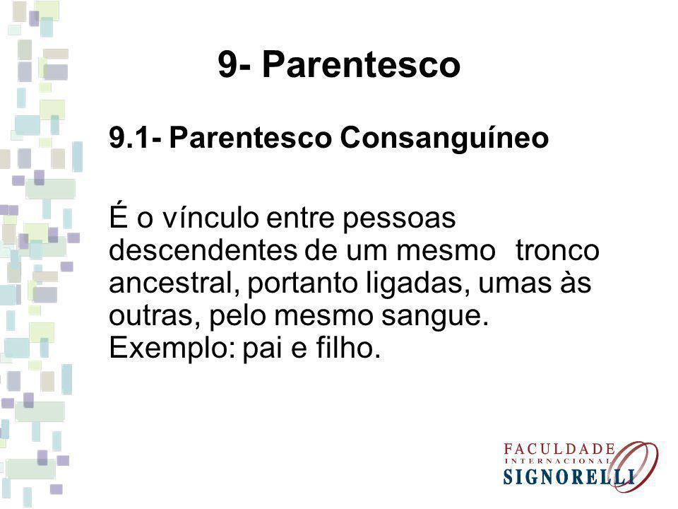 9.1- Parentesco Consanguíneo É o vínculo entre pessoas descendentes de um mesmo tronco ancestral, portanto ligadas, umas às outras, pelo mesmo sangue.