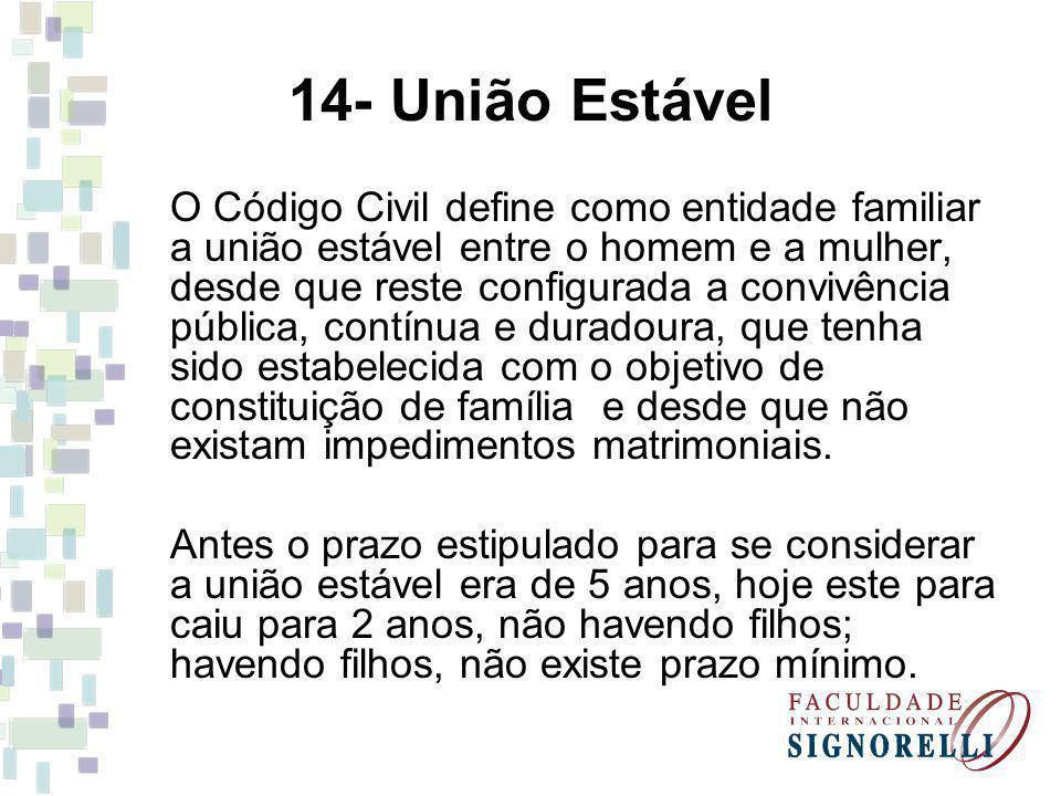 14- União Estável O Código Civil define como entidade familiar a união estável entre o homem e a mulher, desde que reste configurada a convivência púb