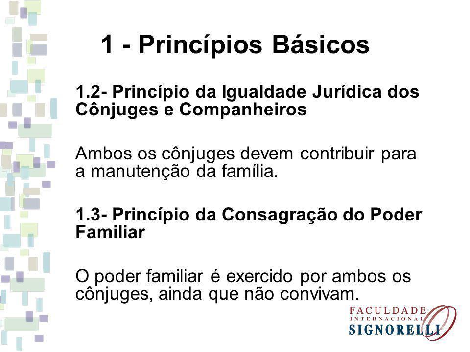 1 - Princípios Básicos 1.2- Princípio da Igualdade Jurídica dos Cônjuges e Companheiros Ambos os cônjuges devem contribuir para a manutenção da famíli