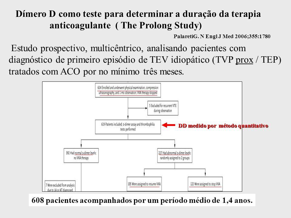 Dímero D como teste para determinar a duração da terapia anticoagulante ( The Prolong Study) Estudo prospectivo, multicêntrico, analisando pacientes com diagnóstico de primeiro episódio de TEV idiopático (TVP prox / TEP) tratados com ACO por no mínimo três meses.