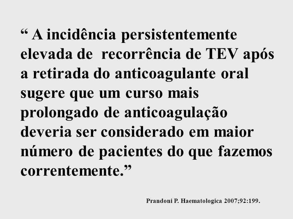 A incidência persistentemente elevada de recorrência de TEV após a retirada do anticoagulante oral sugere que um curso mais prolongado de anticoagulação deveria ser considerado em maior número de pacientes do que fazemos correntemente. Prandoni P.