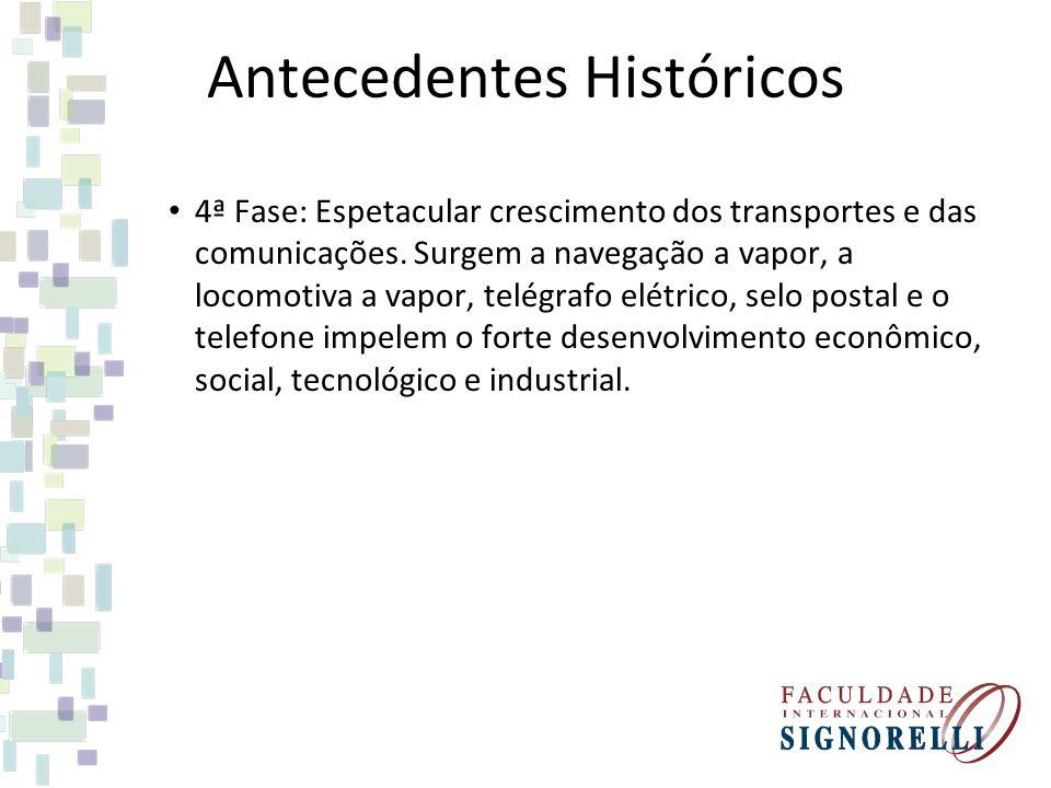 Antecedentes Históricos 4ª Fase: Espetacular crescimento dos transportes e das comunicações. Surgem a navegação a vapor, a locomotiva a vapor, telégra