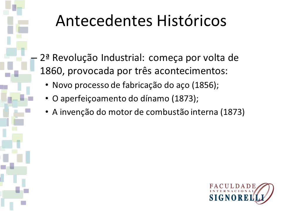 Antecedentes Históricos – 2ª Revolução Industrial: começa por volta de 1860, provocada por três acontecimentos: Novo processo de fabricação do aço (18