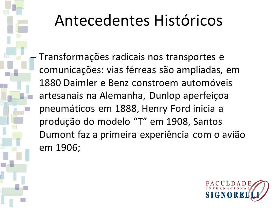 Antecedentes Históricos – Transformações radicais nos transportes e comunicações: vias férreas são ampliadas, em 1880 Daimler e Benz constroem automóv
