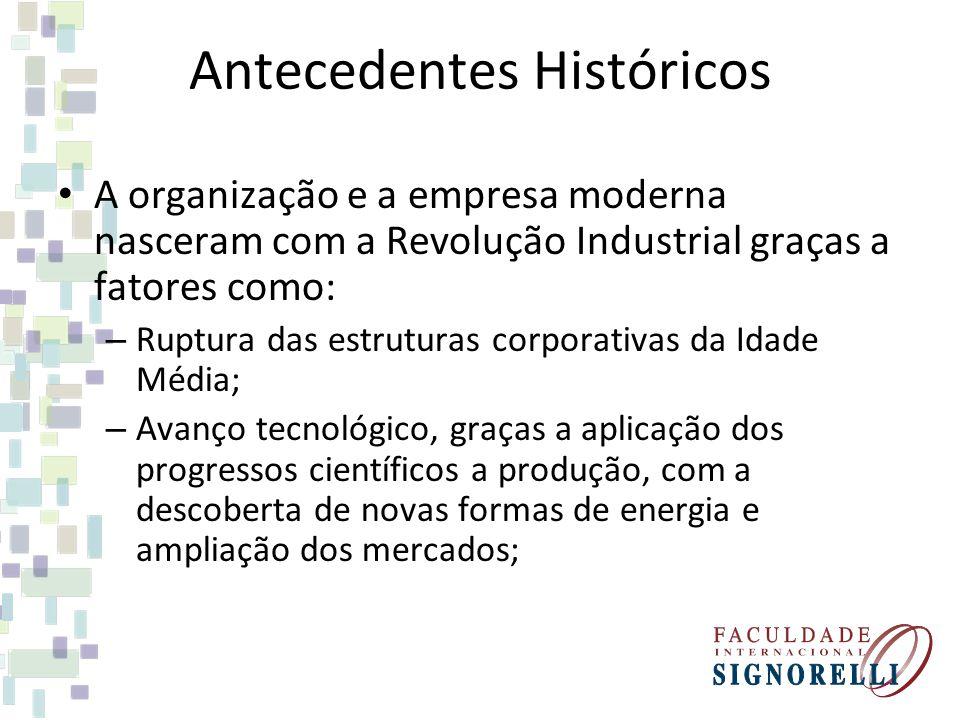 Antecedentes Históricos A organização e a empresa moderna nasceram com a Revolução Industrial graças a fatores como: – Ruptura das estruturas corporat