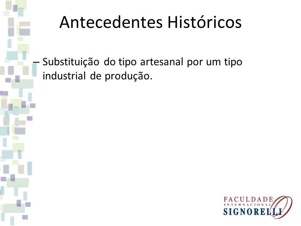 Antecedentes Históricos – Substituição do tipo artesanal por um tipo industrial de produção.