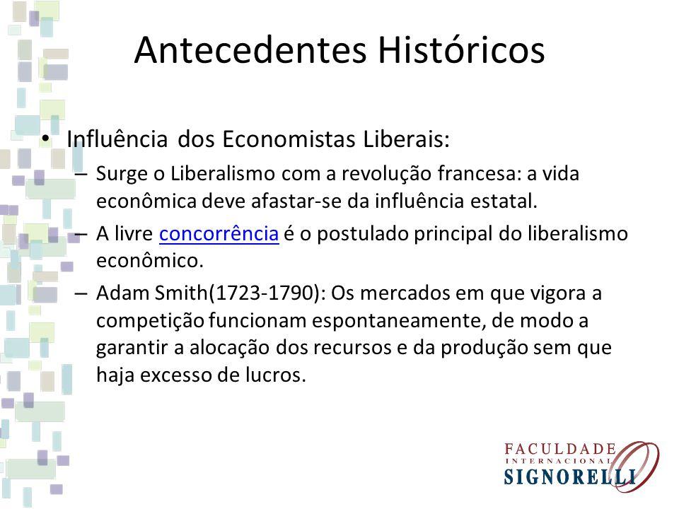 Antecedentes Históricos Influência dos Economistas Liberais: – Surge o Liberalismo com a revolução francesa: a vida econômica deve afastar-se da influ