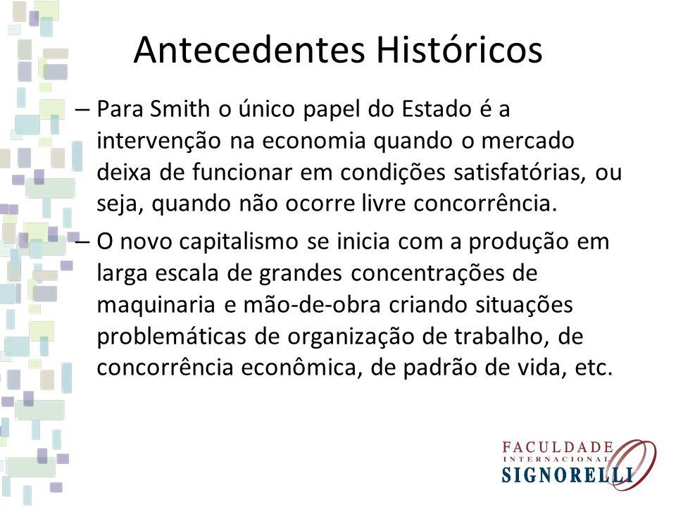 Antecedentes Históricos – Para Smith o único papel do Estado é a intervenção na economia quando o mercado deixa de funcionar em condições satisfatória