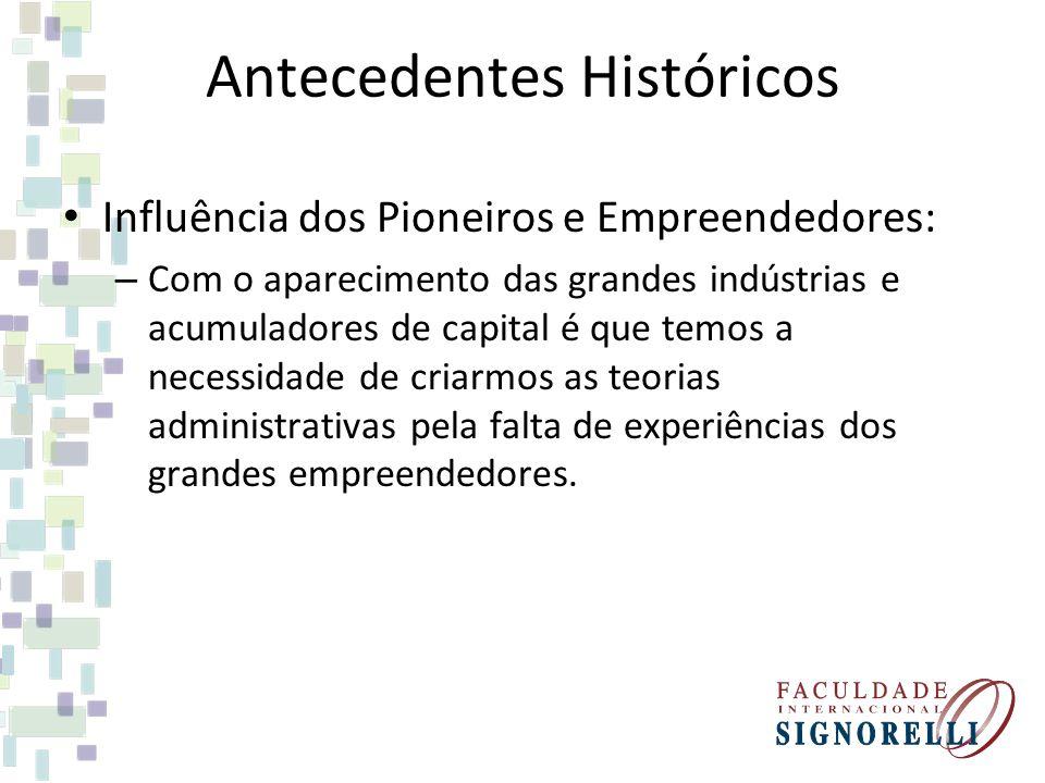 Antecedentes Históricos Influência dos Pioneiros e Empreendedores: – Com o aparecimento das grandes indústrias e acumuladores de capital é que temos a